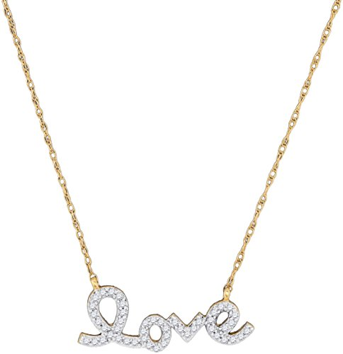 10k Yellow Gold Diamond Love Pendant Necklace Letters Fashion Charm Polished Style Fancy 1/6 Cttw -