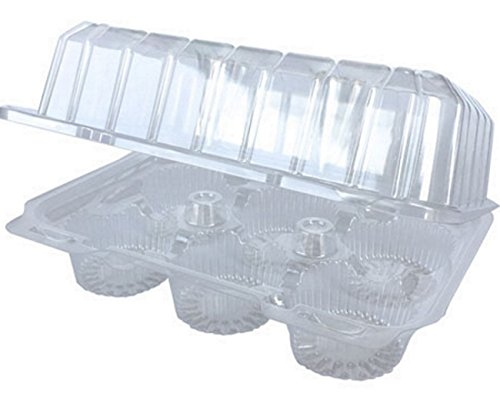 20 Ct. 6-Compartment Cupcake Plastic Takeout Boxes - Clear High-Dome, Hinged Holder Containers That Actually Stay Closed