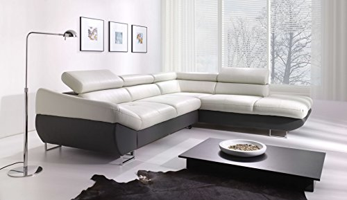 Creative Furniture Fabio Sectional with Sleeper and Storage Right Facing Chaise, Light Gray/Dark Gray