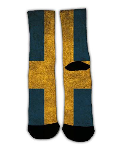 AllDECOR Women Men Cotton Socks Vintage Sweden Sverige Flag Tube Stockings Funny Crazy Cool Print Cosplay Socks