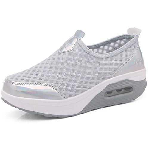 Plateforme Sport Gym Femme Compensée Baskets Hishoes gris Chaussures Fitness Marche De Léger Mailles xaTPwwI