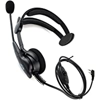 Tenq® Advance Adjustable Overhead Earpiece Headset Boom Mic Microphone Noise Cancelling for 2-pin Kenwood Nexedge Hytera Puxing Wouxun Radio