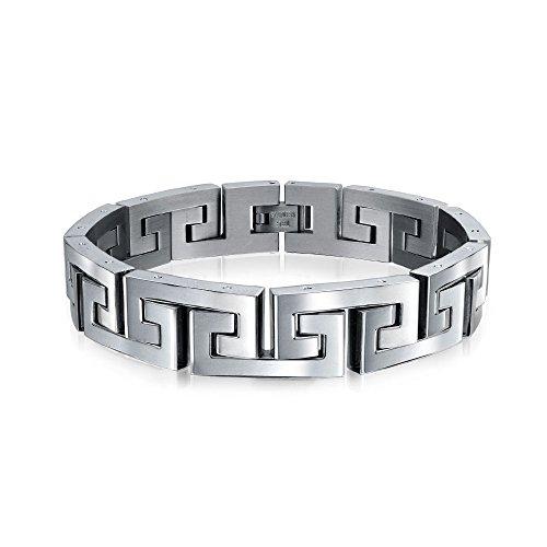 Bling Jewelry Geometric Fancy Greek Key Wristband Link Bracelet for Men Silver Tone Stainless Steel