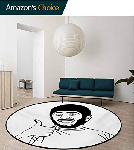 (RUGSMAT Humor Round Rug,LOL Happy Guy with Thumbs Up Bodily Gesture Cool Sounds Good Style Graphic Print Carpet Door Pad for Bedroom/Living Room/Balcony/Kitchen Mat,Round-59 Inch Black and White)