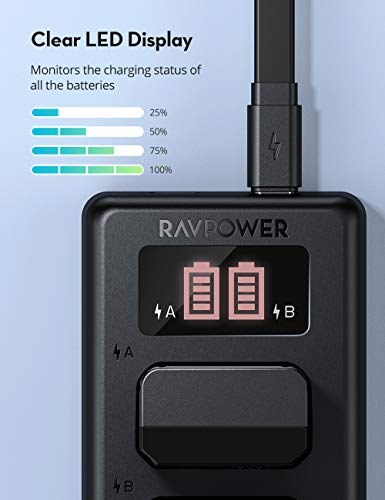 RAVPower NP-FW50 Camera Battery Charger Set for Sony A6000 A6500 A6400 A6300 A7 A7II A7SII A7S A7S2 A7R A7R2 A7RII A55 A510 RX10 RX10II