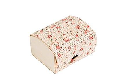 DISOK - Baúl Estampado Floral - Cajas para Detalles de Bodas - Cajitas, Estuches, Cajas Baratas para pañuelos y recuerdos invitadas bodas