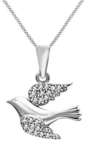 White Dove Necklace - Jewel Zone US White Natural Diamond Accent Soaring Dove Pendant Necklace in 14k White Gold Over Sterling Silver