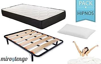 Pack Hipnos Descanso completo 150X190 (colchon + somier + patas + almohada): Amazon.es: Hogar