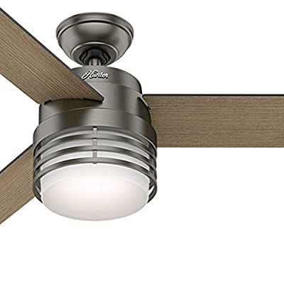 Hunter 54 in. Modern Ceiling Fan in Brushed Slate with LED Light and Remote (Certified Refurbished)