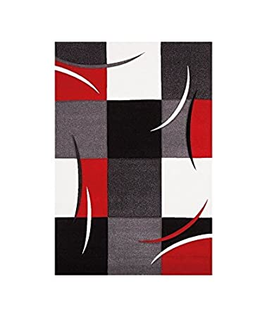 DIAMOND Tapis de salon 80x150 cm rouge, gris, noir et blanc: Amazon ...