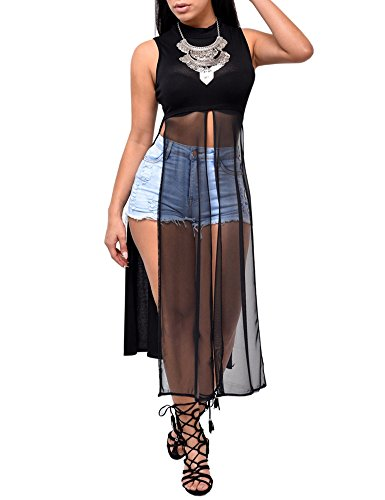 Women Sexy 2 Pieces Set Crewneck Half Sleeve Crop Top Stripe Long Skirt Dress Black (2 Piece Tail)