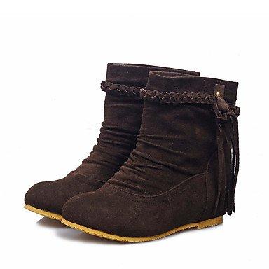 Botas de Mujer Otoño Invierno Comfort polipiel vestir casual talón plano Borla marrón oscuro gritoOw negro beige Dark Brown