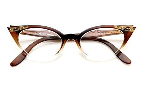 Cateye Women's Eyeglasses or Sunglasses Vintage Inspired Fashion (Brown Fade Frame - Glasses Vintage Frames Inspired