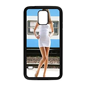 Samsung Galaxy S5 Cell Phone Case Black Girl in white miniskirt and Heals FXS_567818