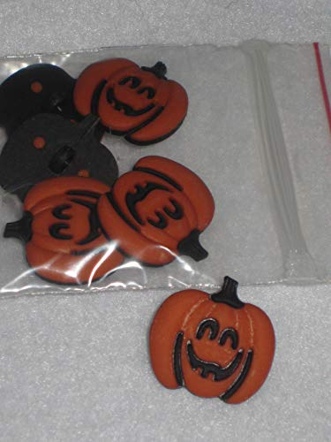 Buttons for Craft Projects - Primitive 6 Halloween Pumpkin Plastic Novelty Shank Buttons 7/8'' - Ideal for Sewing and Quilting, Scrapbooking, Crafts -