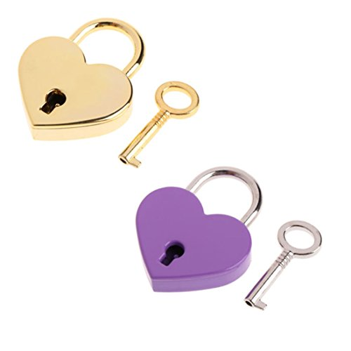 2 Pcs Small Metal Heart Shaped Padlock Mini Bag Lock with Key for Jewelry Box Storage Box Diary (Lock Key Jewelry)