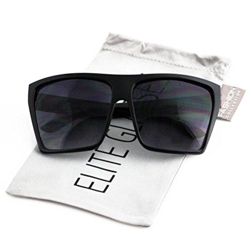 Elite Oversized Aviator Flat Top Square Vintage Retro Fashion Men Women Sunglasses (Matte Black/ Gold Arm, - Aviator Sunglasses Square Vintage