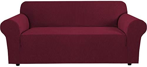 Stretch Slipcovers Sofa Covers for 3 Cushion Couch Sofa Covers for Living Room Sofa Slipcover Furniture Protector Spandex Jacquard Fabric Small Checks (Fit 74″-88″ Inches Sofa: Burgundy)