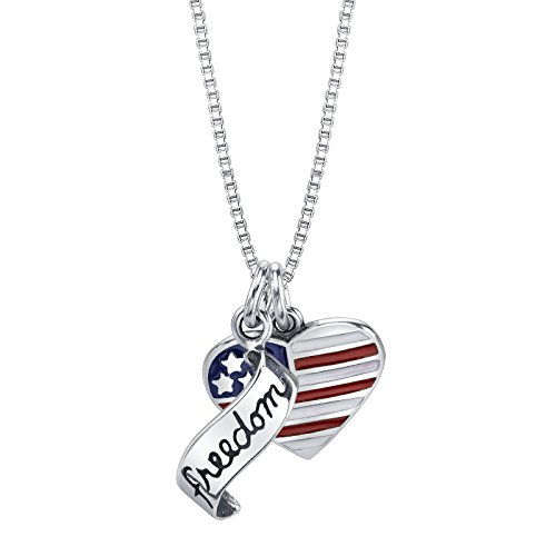 Raposa Elegance Sterling Silver Freedom Banner and Enameled USA Flag Heart Charms on a Box Chain Necklace, 18