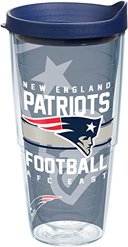 Tervis 1180512 NFL New England Patriots Gridiron Tumbler with Wrap and Navy Lid 24oz, Clear