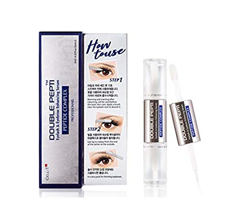 DOUBLE PEPTI Eyelash & Eyebrow Enhancing Serum - Natural Growth Enhancer for Long, Luscious of Brows, Lashes and Hair Treatment - Premium Korean Beauty Lash Accelerator Serum