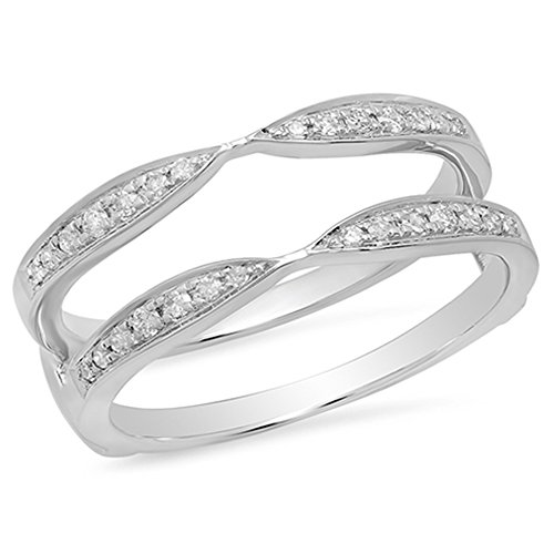 Dazzlingrock Collection 0.22 Carat (ctw) 14K Round Diamond Anniversary Wedding Band Guard Ring 1/4 CT, White Gold, Size 6 by Dazzlingrock Collection (Image #1)