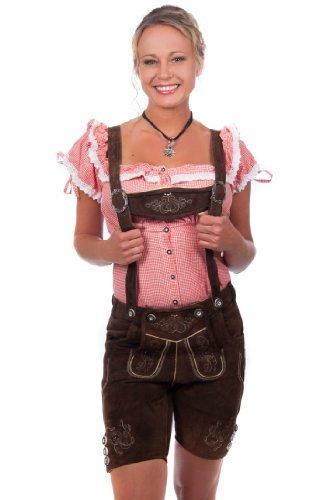 Kurze Damen Trachten Lederhose braun aus feinstem Rindsveloursleder Gr 34