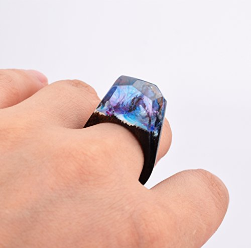 Heyou Love Handmade Wood Resin Ring With Secret Sky Landscape Inside Jewelry by Heyou Love (Image #4)