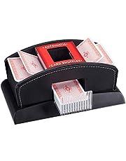 Relaxdays, Zwarte kaartenschudder, elektrisch, leer, 2 decks, mengapparaat voor het mengen van kaarten, kaartenschudmachine, standaard