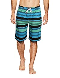 APTRO Men's Quick Dry Board Shorts Printed Stripe Swimwear