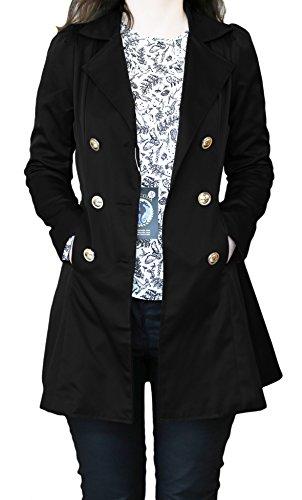 SODACODA Women`s Hourglass Trench Coat (XS-XL) Negro