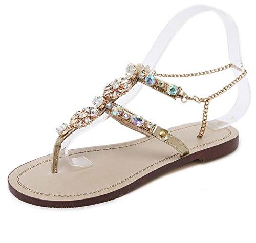 con de Planos Oro DANDANJIE metálica Diamantes Chancletas caseros Sandalias Diamantes Cadena para Romanas Mujer Zapatos gYTYzq