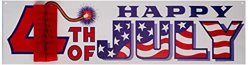 Happy 4th Of July Sign w/Tissue Firecracker Party Accessory (1 count) -