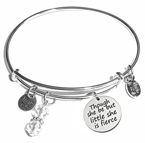 Chip Bracelet Bangle - Hidden Hollow Beads Message Charm (46 Words to Choose from) Expandable Wire Bangle Bracelet, in The Popular Style, Comes in A Gift Box! (Though she be but Little she is Fierce)