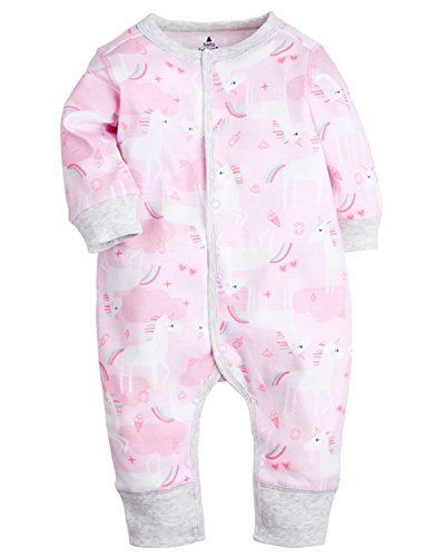 Kidsform Baby Infant Boy Girl Cotton Bodysuit Sleepwear Long Sleeve Footless Romper C 6-12M