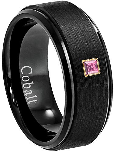0.05ctw Solitaire Princess Cut Pink Tourmaline Cobalt Ring - 8MM Brushed Black Stepped Edge Cobalt Chrome Wedding Band - October Birthstone Ring - s11.5 ()