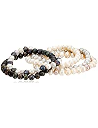 Bella Pearl Five-Piece Pearl Stretch Bracelet Set