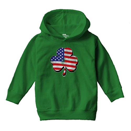 Tcombo Irish Clover - Distressed American Flag - St Patricks Toddler Little Boy Hoodie Sweatshirt (2T, Kelly (Clover Kids Hoodie)