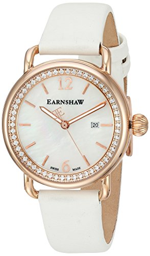 Thomas Earnshaw Women's 'INVESTIGATOR' Swiss Quartz Stainless Steel and Satin Casual Watch, Color:White (Model: ES-0022-08)