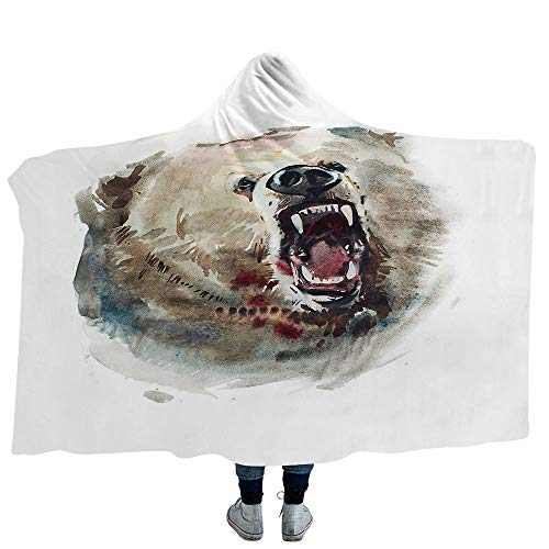 ISMYPRINT Hooded Blanket Bird Deluxe Blanket Relieves Anxiety Stress Agitation Two Red Crowned Crane with Open Wings Flying in Clear Sky Japanese Animal Duo (Kids 50