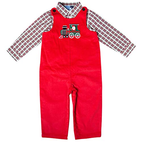Newborn Train Set - Good Lad Newborn/Infant Boy Red Corduroy Overall Set with Train Applique (24M)