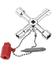 4-vägs korsnyckel Multifunktionell universalstyrning Korsnyckel Alloy Skåpnyckel 4 i 1 Serviceverktyg Cross Triangle/kvadratisk vattennyckel