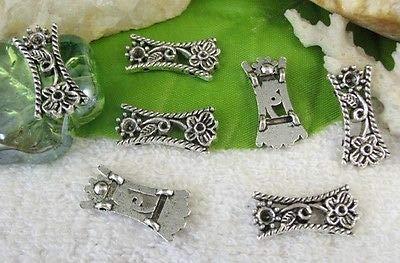 FidgetGear 50PCS Tibetan Silver Floral 2 Holes Spacer Beads FC10396