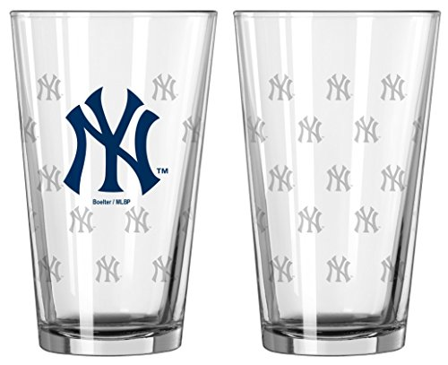 Logo Etched Collectible Glass - Boelter New York Yankees Satin Etch Pint Glass Set