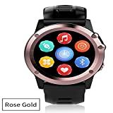 WTGJZN GPS Smart Watch MTK6572 IP68 Waterproof 1.39inch 400400 WiFi 3G Heart Rate Monitor 4GB+512MB for Android iOS Camera 500W,Rose Gold