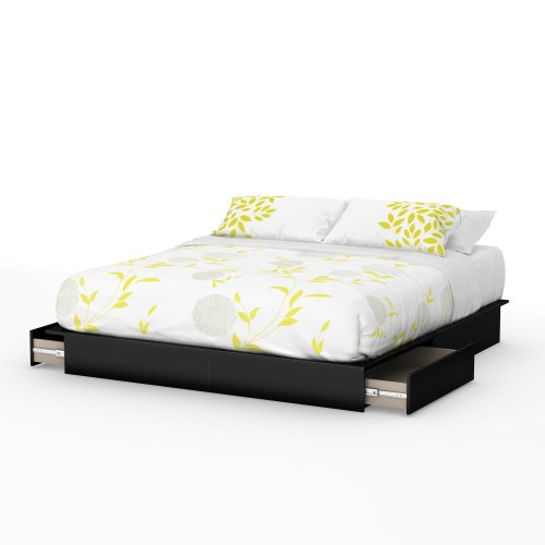- South Shore Step One Platform Bed with 2 Drawers, King 78-Inch, Pure Black