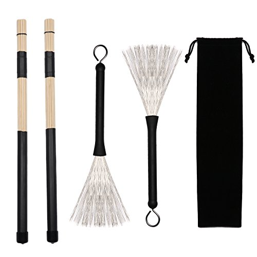 Gydandir 1 Pair Jazz Drum Rod Brushes Sticks Made of Bamboo for Jazz Folk Music and 1 Pair Drum Wire Brushes Retractable Drum Sticks Brush with 1 Storage Bag