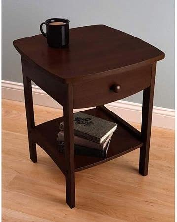 Curved Nightstand End Table, Dark Walnut