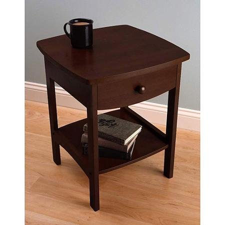 Superior Curved Nightstand / End Table, Dark Walnut
