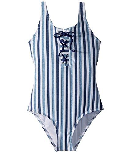 Splendid Big Girls' Tie Dye Stripe One Piece Swimsuit, Blue, 10